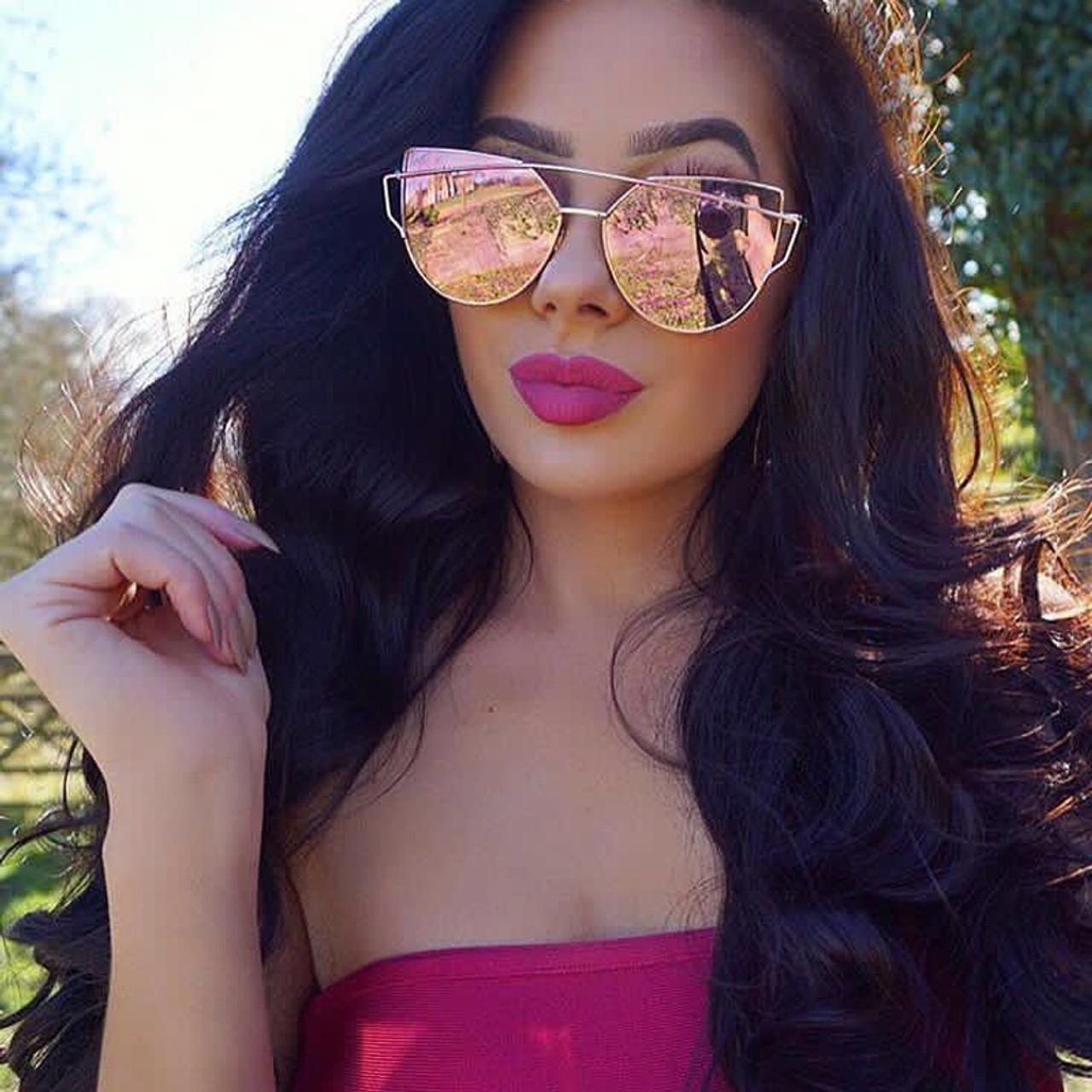 ee91fd6a4a Newest Cat Eye Sunglasses Women Brand Designer Twin-Beams Sun Glasses  Mirror Sunglasses Flat Panel Love Punch Clear Drop Ship - OnshopDeals.Com