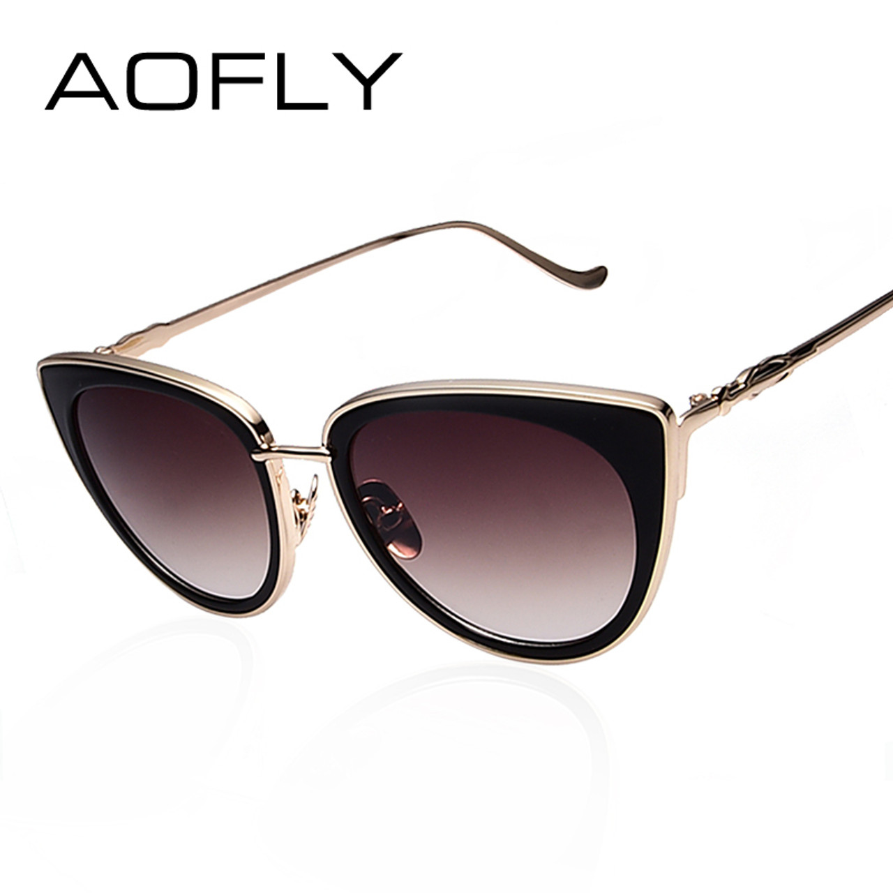 0bbe5fe6e5 AOFLY Metal Frame Cat Eye Women Sunglasses Female Sunglasses Famous Brand  Designer Alloy Legs Glasses oculos ...