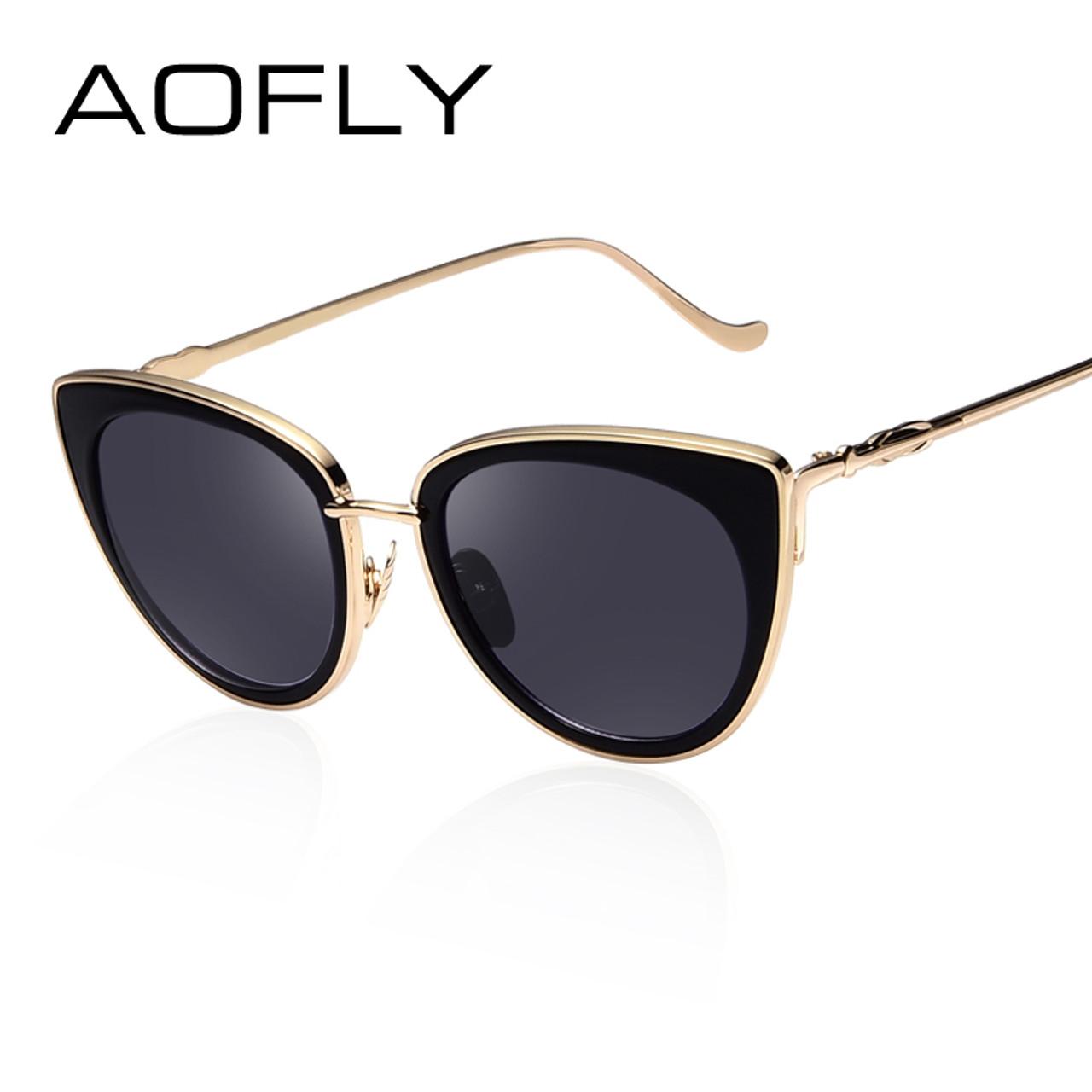 a5ea814f4b26 ... AOFLY Metal Frame Cat Eye Women Sunglasses Female Sunglasses Famous Brand  Designer Alloy Legs Glasses oculos ...