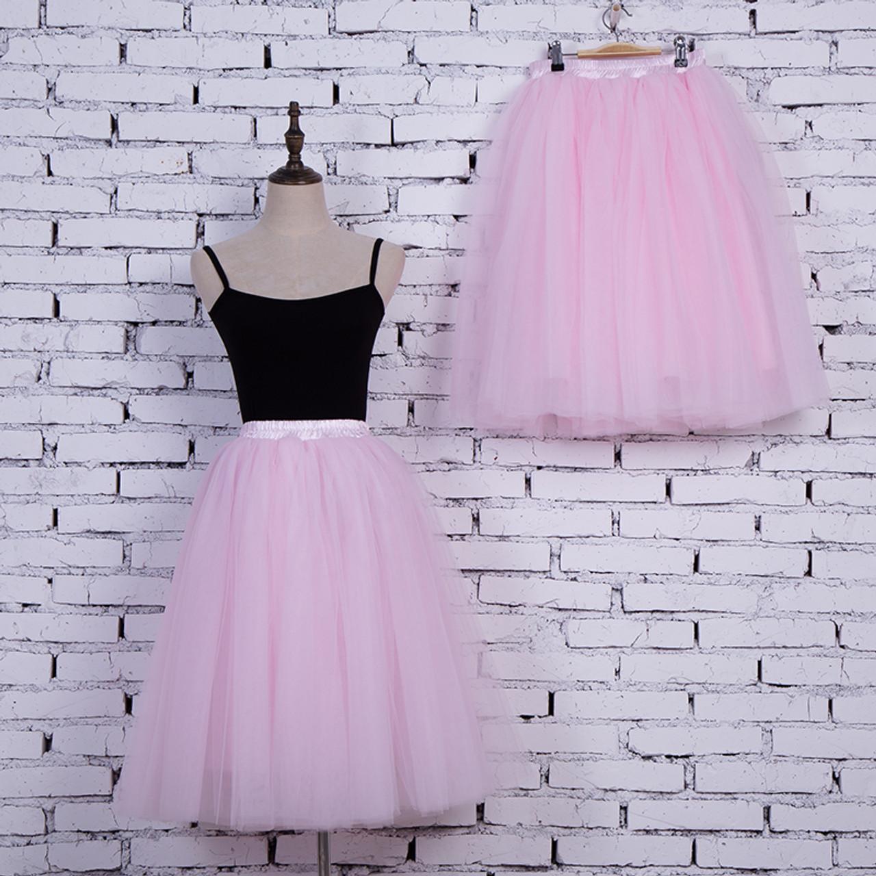 ce30ef73d ... 5 Layers 65cm Princess Midi Tulle Skirt Pleated Dance Tutu Skirts Womens  Lolita Petticoat Jupe Saia ...