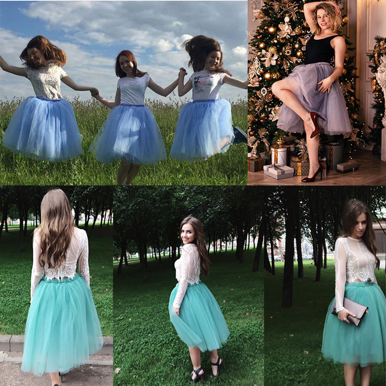 b3cc1c5507 ... 5 Layers 65cm Princess Midi Tulle Skirt Pleated Dance Tutu Skirts Womens  Lolita Petticoat Jupe Saia ...