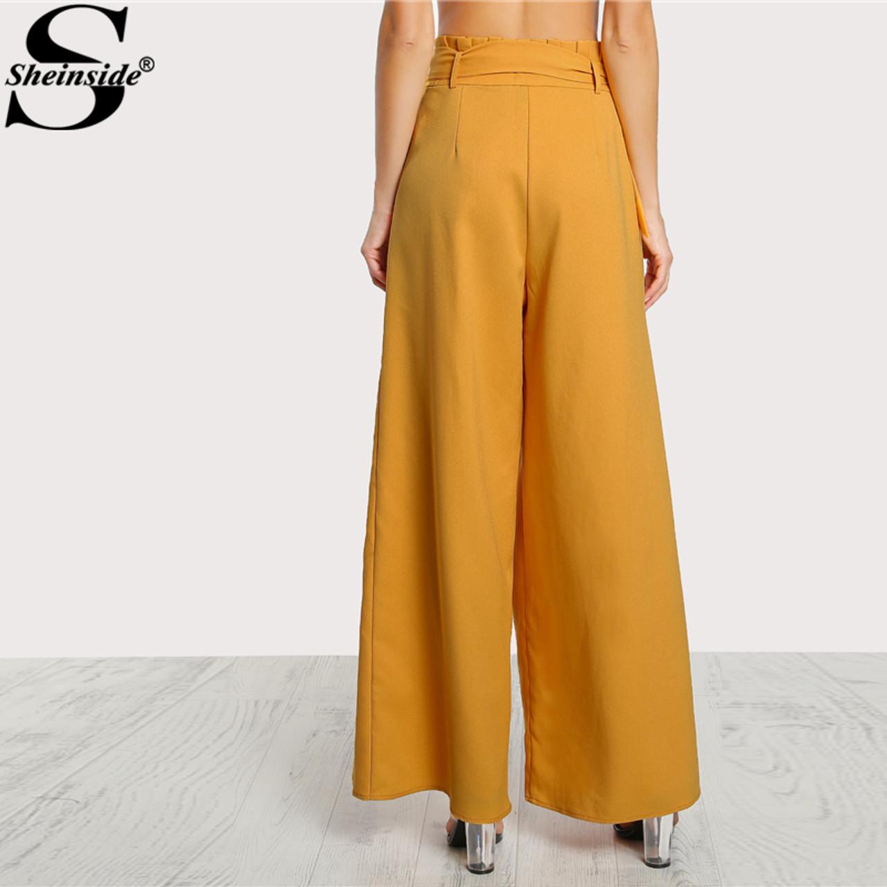 Secretary Office Pants Mid Waist Belted Pants Elegant Black Slacks Long Wide Leg Trousers Formal Wear Small S