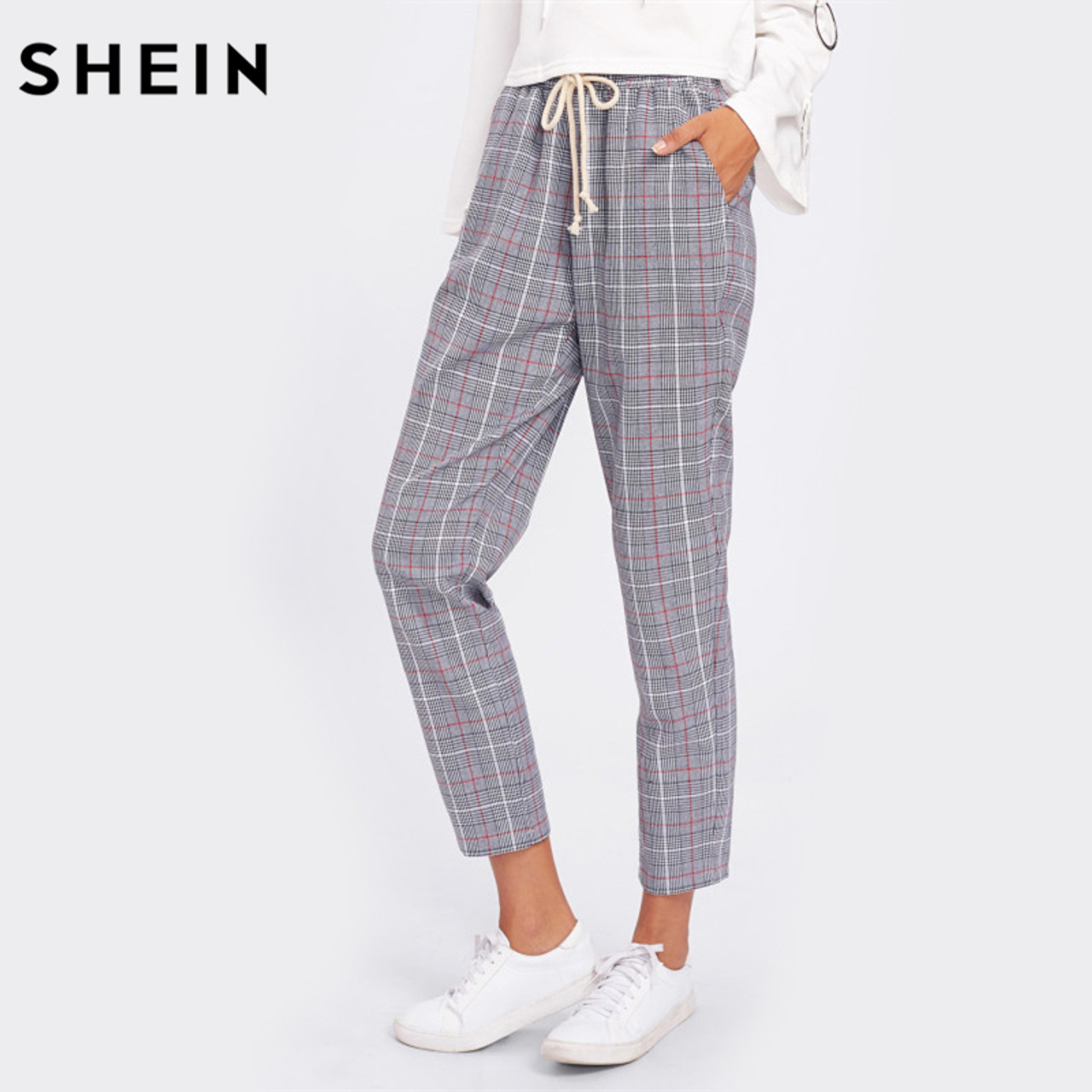04426be58 SHEIN Drawstring Detail Plaid Peg Pants Grey High Waist Trousers Elastic  Waist Loose Cropped Womens Casual ...