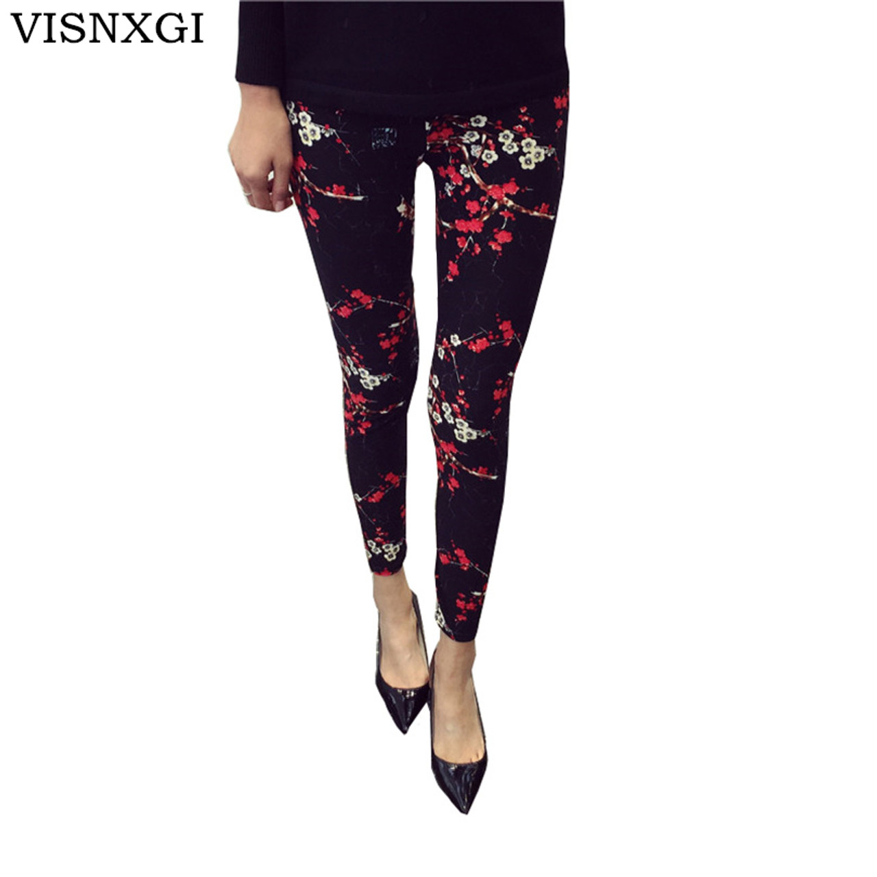 5d896f57a9f6 New 2018 Print Flower Leggings Leggins Plus Size Legins Guitar Plaid Thin  Nine Pants Fashion Women ...