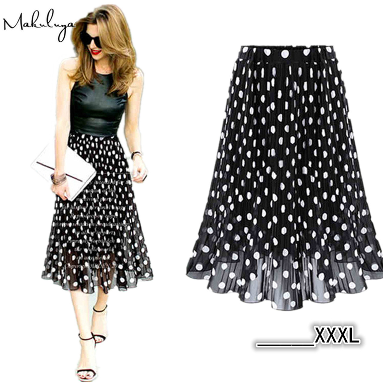 ab8bd370a8 ... Makuluya 2017 Summer Spring Women Chiffon Polka Dot Skirt Female Black  dots Elastic Waist Pleated Skirt ...
