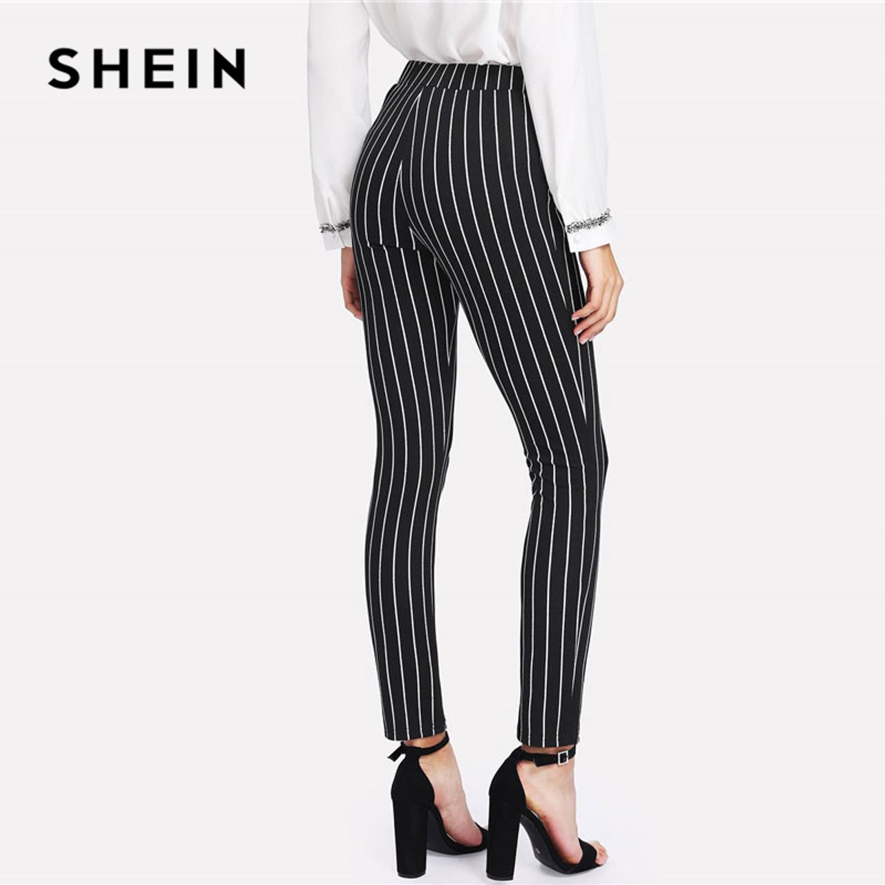 720e22ea9 ... SHEIN Vertical Striped Skinny Pants Women Elastic Waist Pocket OL Style  Work Trousers 2018 Spring Mid ...