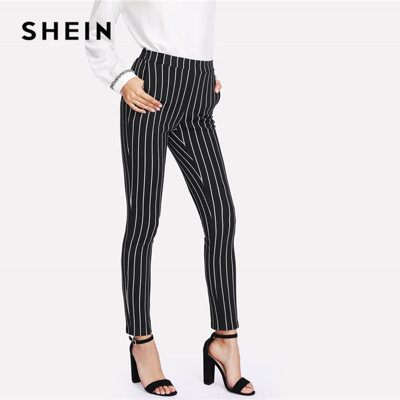 ef88cfc9ff ... SHEIN Vertical Striped Skinny Pants Women Elastic Waist Pocket OL Style  Work Trousers 2018 Spring Mid ...