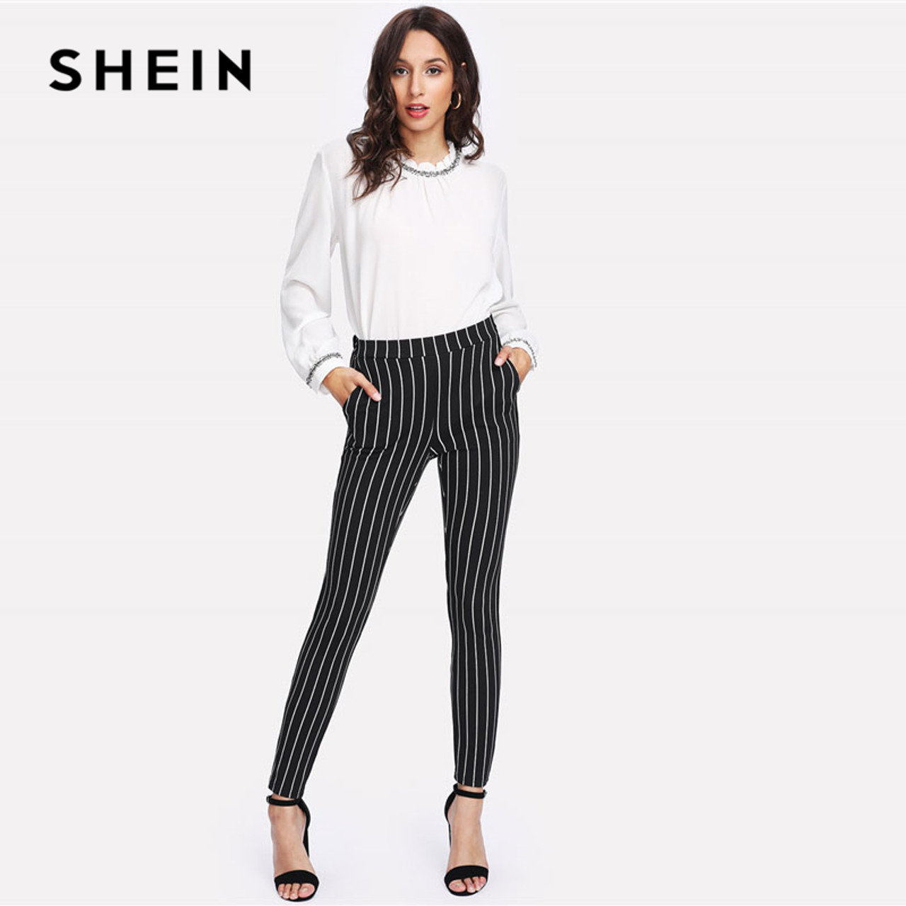 SheIn Womens Striped Drawstring Mid Waist Casual Long Pencil Skirt