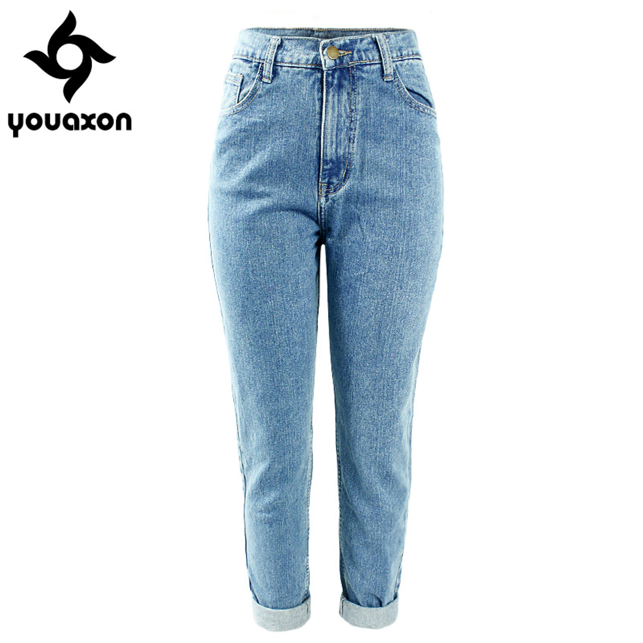 ce743bb7b7 1886 Youaxon Women`s Plus Size High Waist Washed Light Blue True Denim  Pants Boyfriend ...