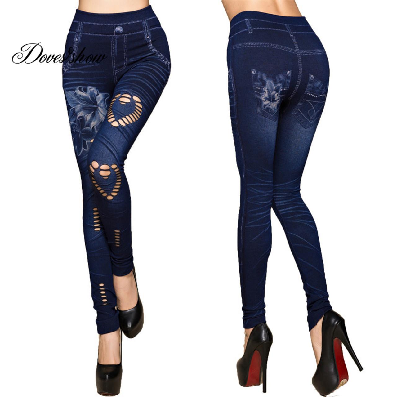 Womens New Fashion Denim Leggings Skinny Pants Rose Embroidered Print Jean 5XL