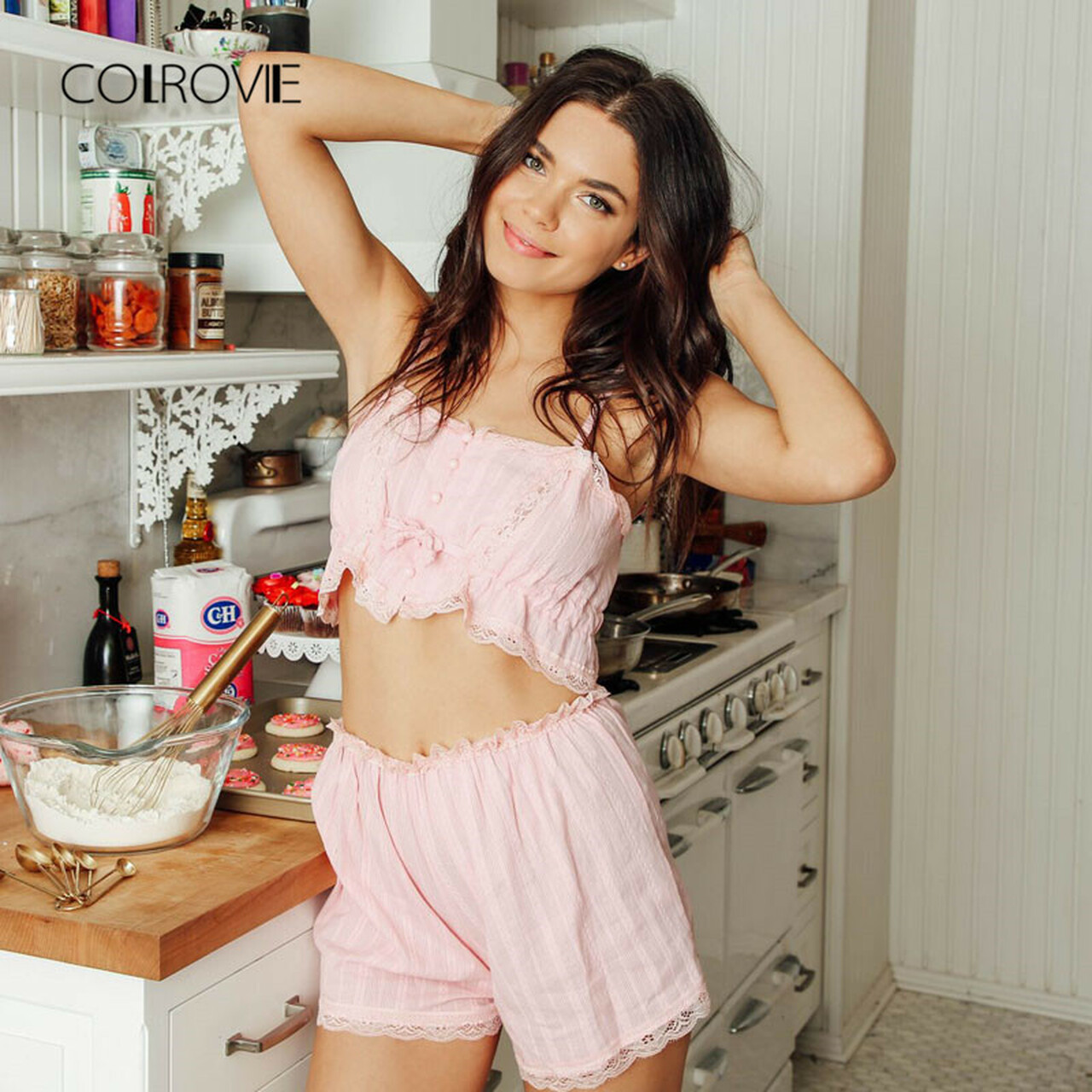7ddcc2448b ... COLROVIE 2017 Contrast Lace Cami With Shorts Pajama Set Women Pink  Spaghetti Strap Sleeveless Drawstring Waist