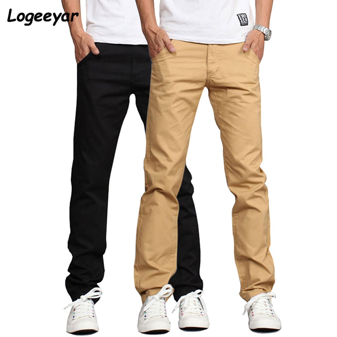 644d62b0699d0 2017 New Design Casual Men Pants Cotton Slim Pant Straight Trousers Fashion  Business Solid Khaki Black ...