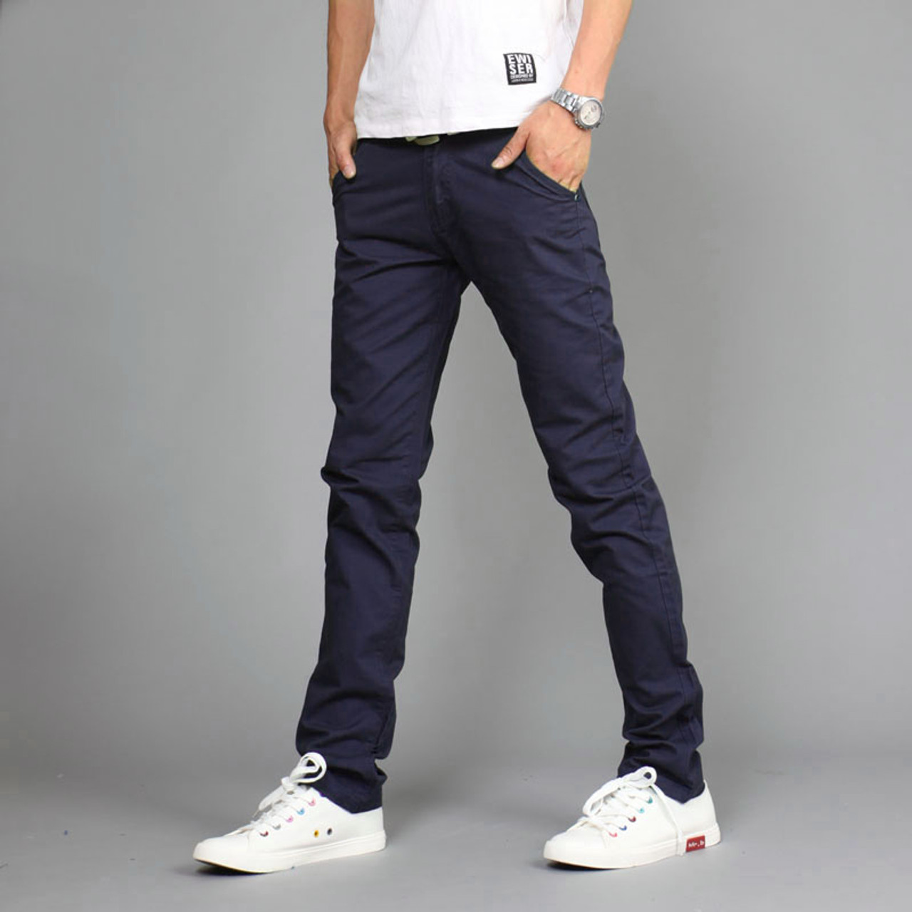 bcc7b3a47bd33 ... 2017 New Design Casual Men Pants Cotton Slim Pant Straight Trousers  Fashion Business Solid Khaki Black ...