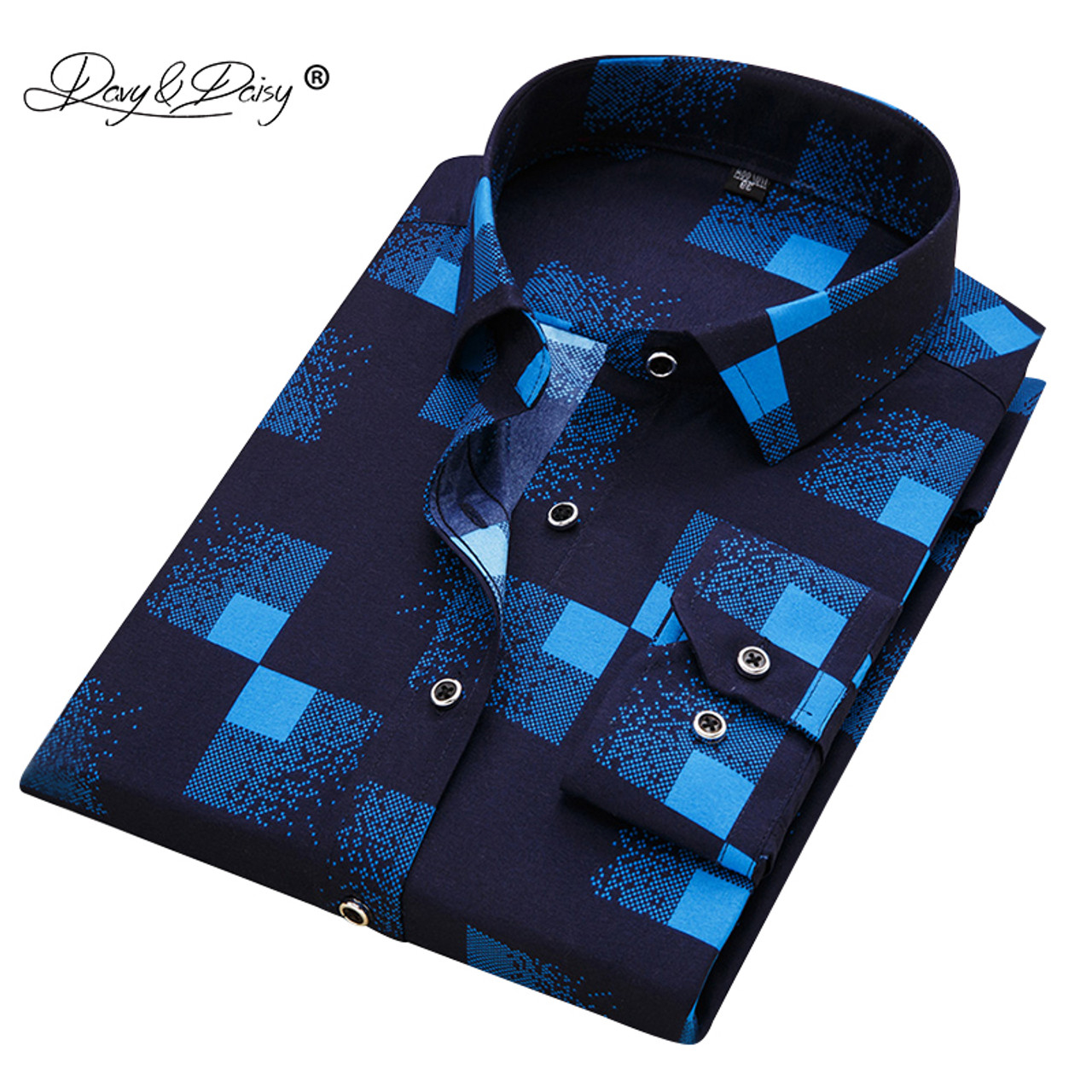 d51dfc8093f DAVYDAISY 2018 New Arrival 100% Polyester Men s Shirt Fashion Men Print Long  Sleeved Shirt Male ...