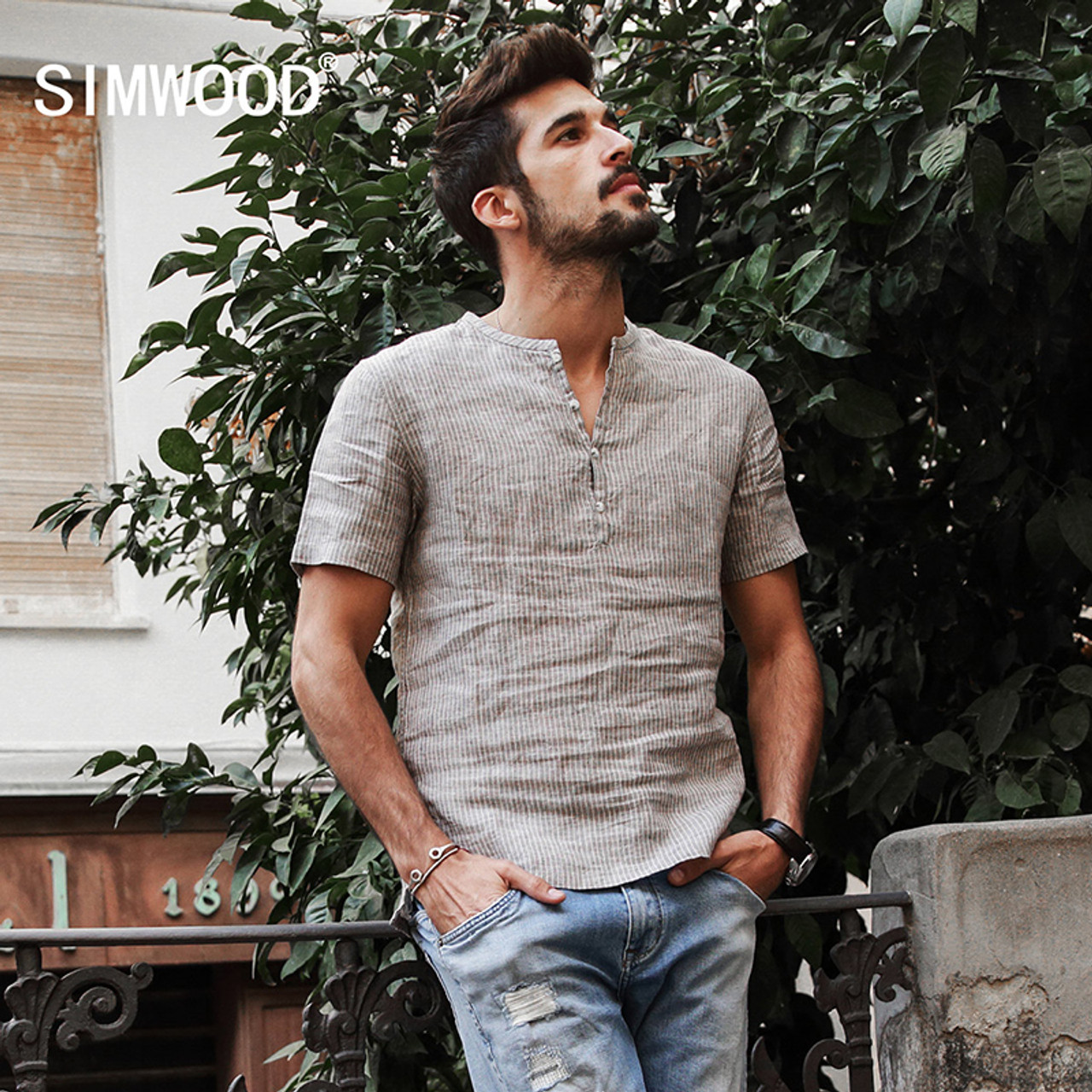 caebd21e11c SIMWOOD 2018 Summer Shirts Men 100% Pure Linen Shorts Sleeve Striped Slim  Fit Henry Collar ...