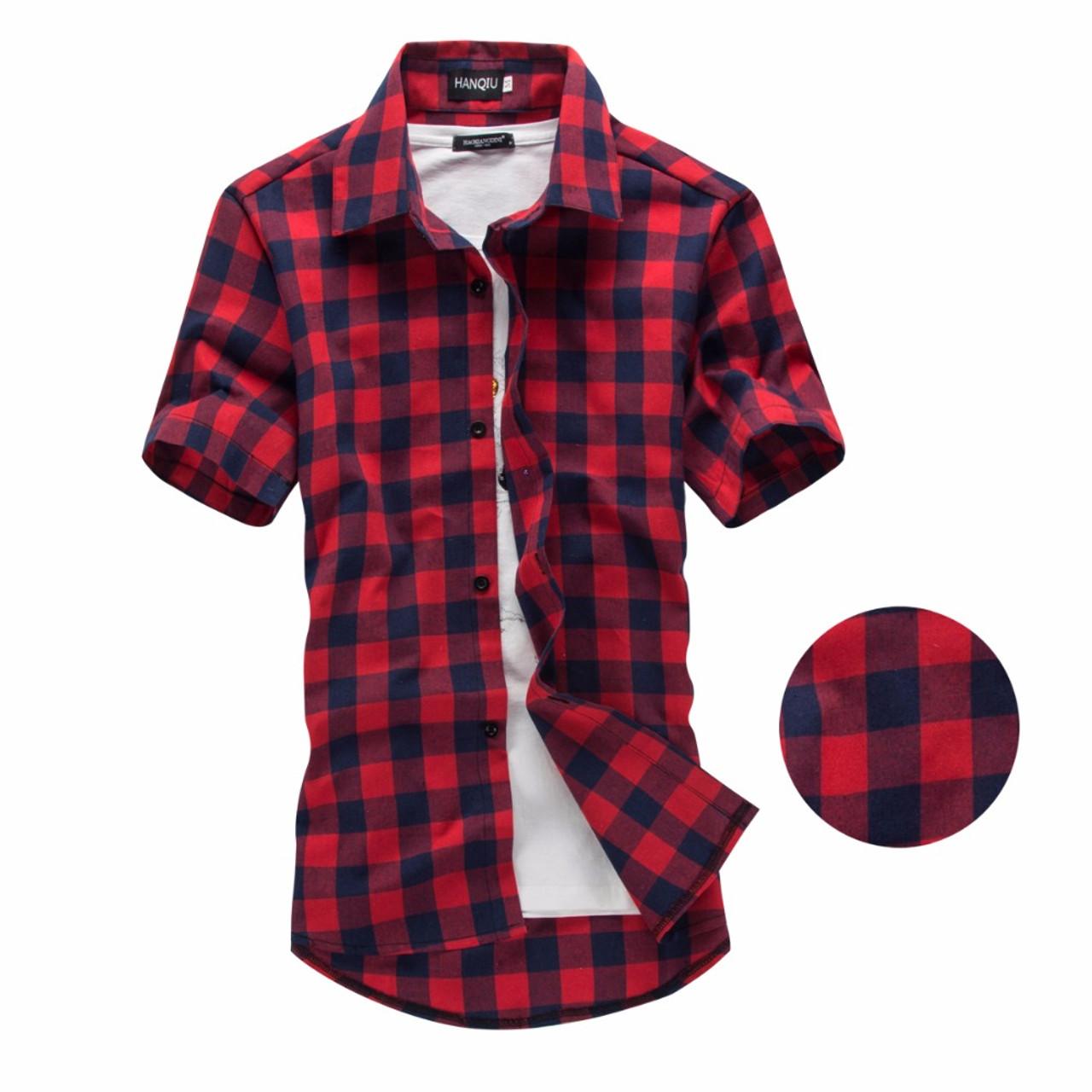 e473349c2e5 ... Red And Black Plaid Shirt Men Shirts 2018 New Summer Fashion Chemise  Homme Mens Checkered Shirts ...