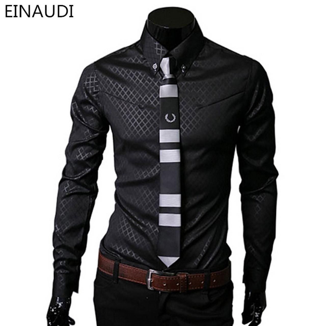 504285e8d6 Men Plaid Shirts Brand 5XL 2016 New Mens Dress Shirts Long Sleeve Slim  Casual Black White ...