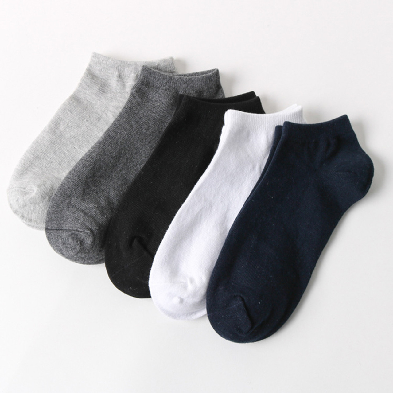 f892ce2e51795 5pairs/lot Spring summer men cotton ankle Socks for men's business casual  solid colors short ...