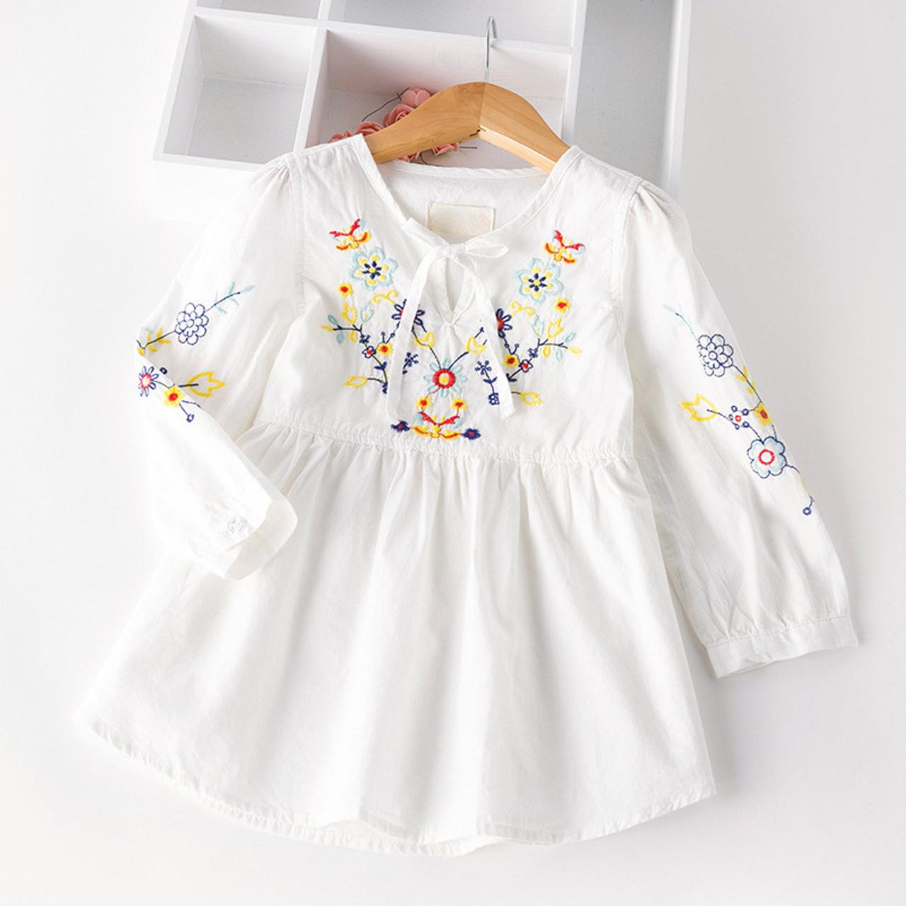 88114ae727d8 Autumn Cotton Denim dress Little Girls floral dress vintage embroidery flower  dresses Toddler Clothing For Party - OnshopDeals.Com
