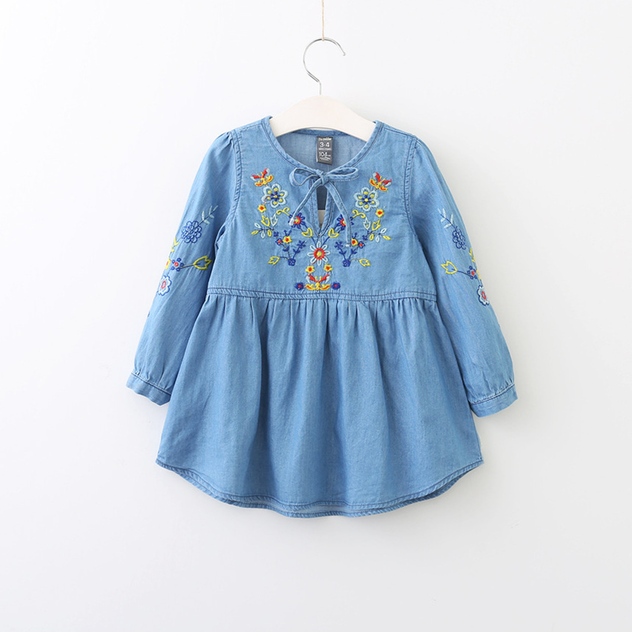 80236bab8 Autumn Cotton Denim dress Little Girls floral dress vintage ...