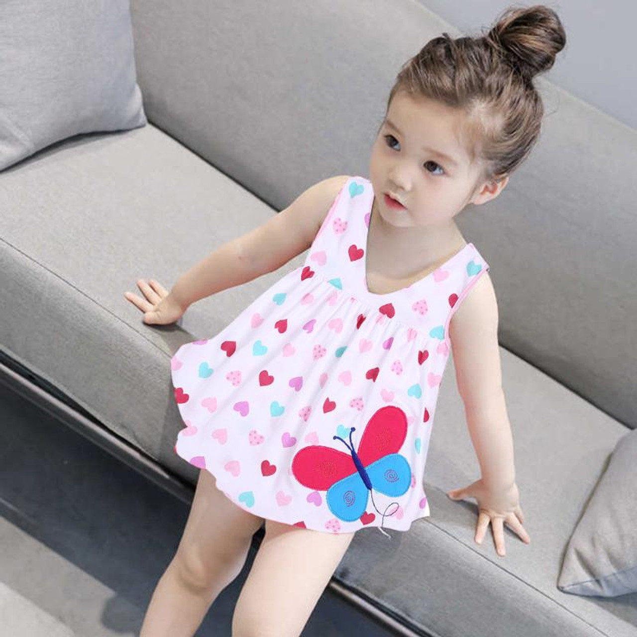 07f293775b 0-2T Fashion Summer Dress for Girl Baby Sleeveless Cotton Princess Dress  for Girls Cute Pattern Decor Dot Summer Dresses Clothes