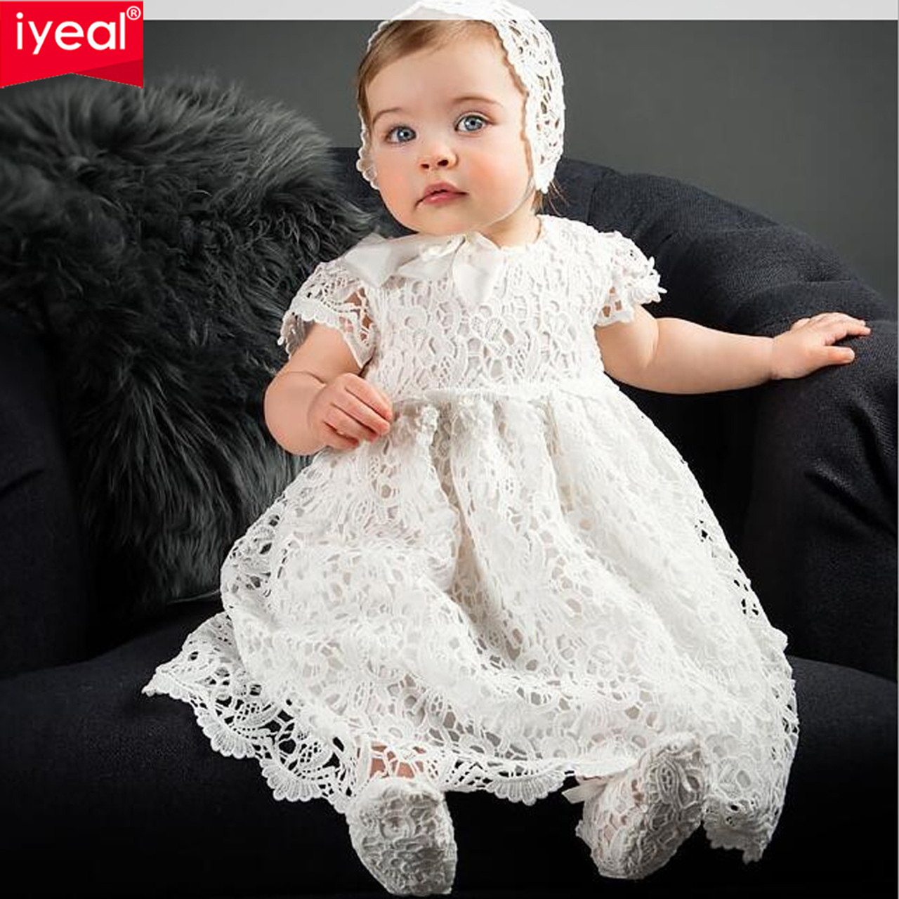a2868fb44e79d ... IYEAL 2018 New 1 Year Birthday Baby Girl Dresses For Baptism Infant  Princess Lace Christening Gown ...