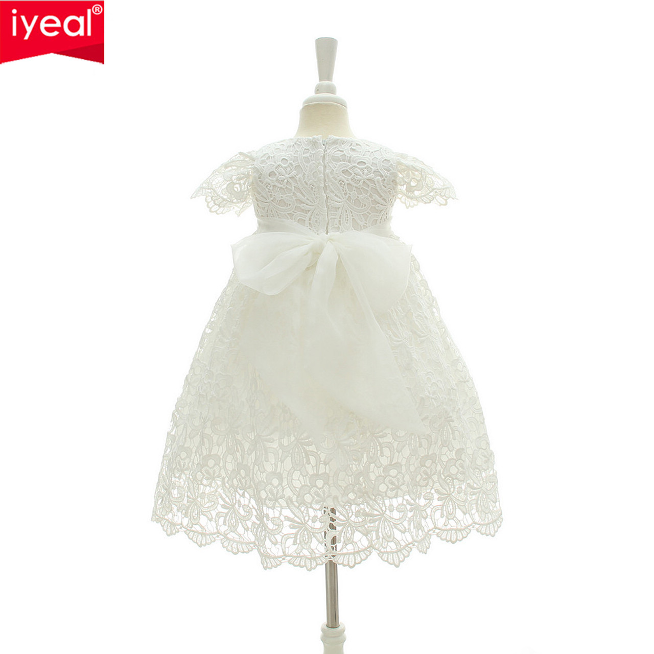 e9a745d9f1b46 ... IYEAL 2018 New 1 Year Birthday Baby Girl Dresses For Baptism Infant  Princess Lace Christening Gown ...
