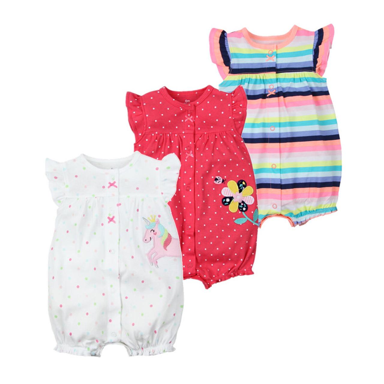 0777bb09f Brand 2018 Summer Baby Rompers Short Sleeve Baby Girls Clothing Kids ...