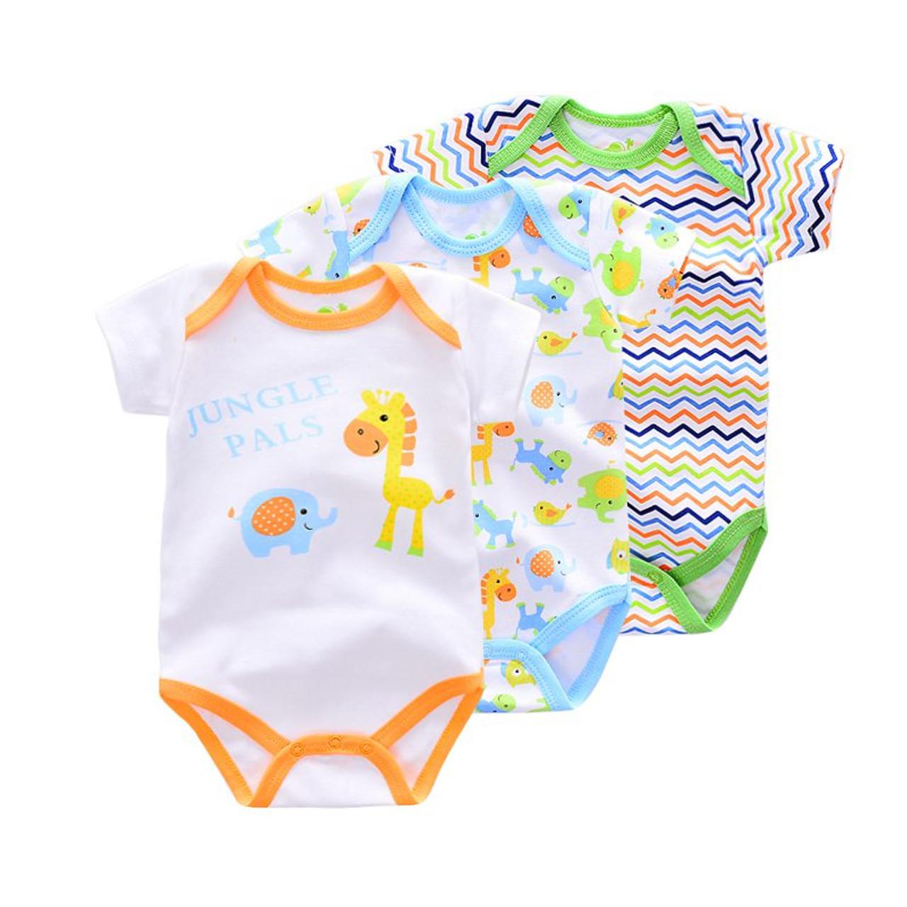 95cb8d2e5c71 3 Pieces lot Brand Summer Baby Boys Romper Animal style Short Sleeve ...