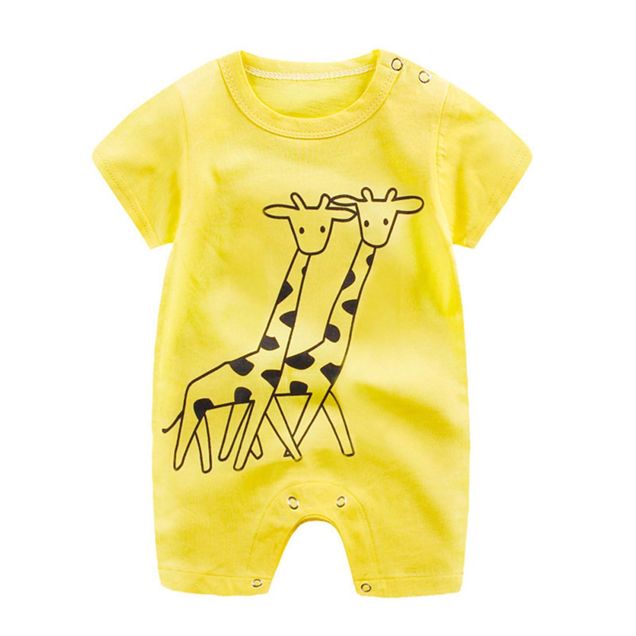 Diamondo Summer Cartoon Letters Print Baby Rompers Boys Short Sleeve Soft Jumpsuit