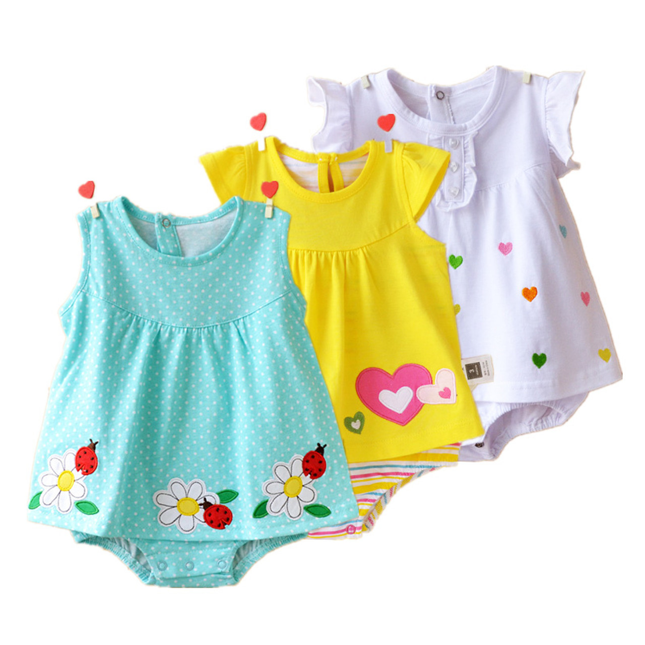 6724c9dc79d84 Baby Girl Rompers Summer 100% Cotton Infant Jumpsuits Roupas Bebes Colorful  Cartoon Newborn Princess Skirt Toddler Girls Clothes