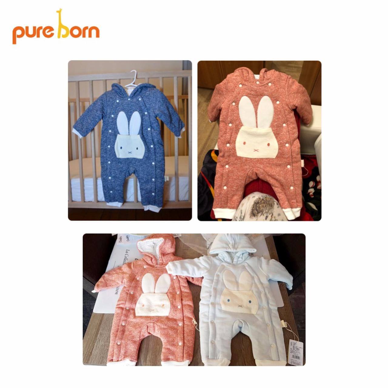 0244beb6bb30 ... Pureborn Baby Romper Cartoon Rabbit Baby Clothes 2018 Cotton Jumpsuit  Newborn Hooded Overall Baby Girl Boys ...