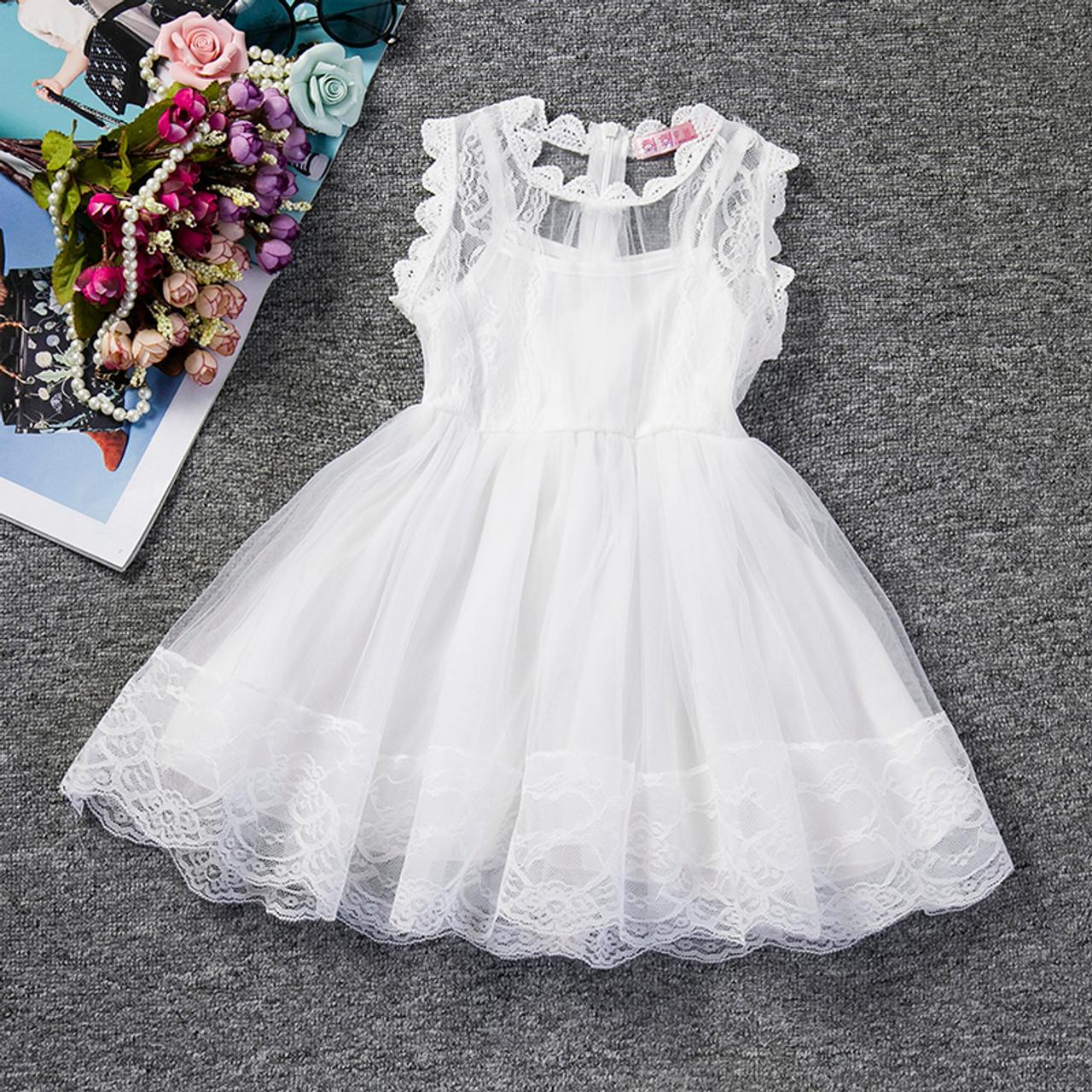 dbb2657b03ab 2018 Baby Girl Floral Lace Princess Tutu Dress Wedding Christening ...