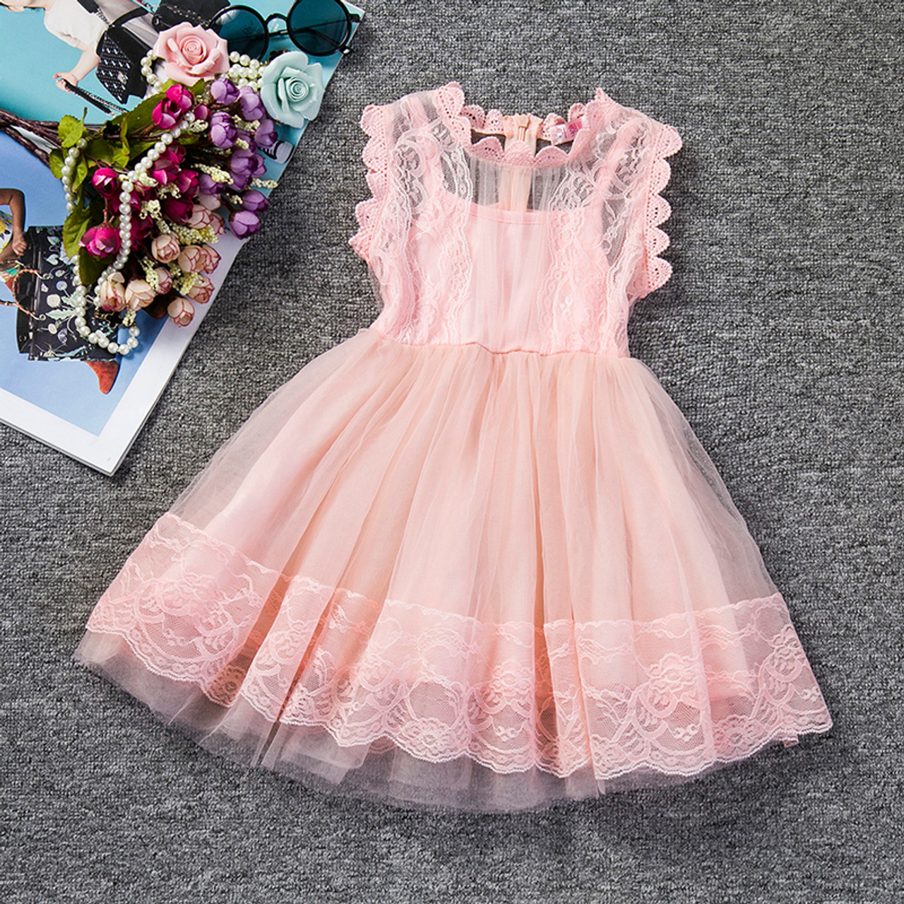 a3dc93cfbe8b4 2018 Baby Girl Floral Lace Princess Tutu Dress Wedding Christening Gown  Dress Girls Clothes For Kids Party Wear Meninas Vestidos
