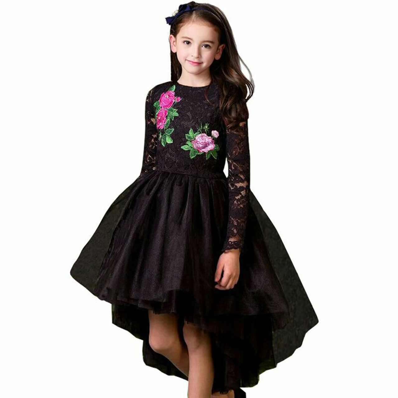 f457ab7e05264 Girls Party Dress Princess Costume 2017 Brand Kids Dresses for Girls  Clothes Flower Embroidery Children Black Lace Dress Vestido