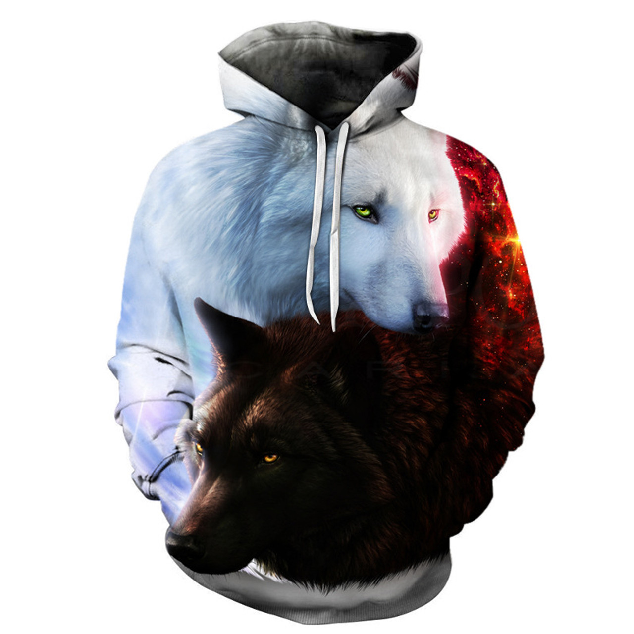 Wolf 3D Sweatshirt Skull Hoody Men Hoodie Funny Hoodie Wolf Tracksuit Hoody M