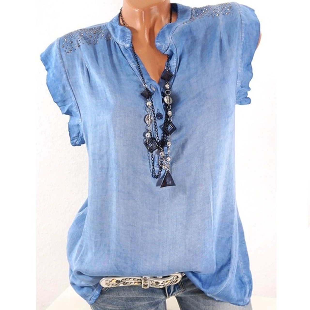 7a7fd717486 Plus Size 5XL Women Tops and Blouse Solid Sleeveless V Neck Loose Casual  Summer Top Blouses ...