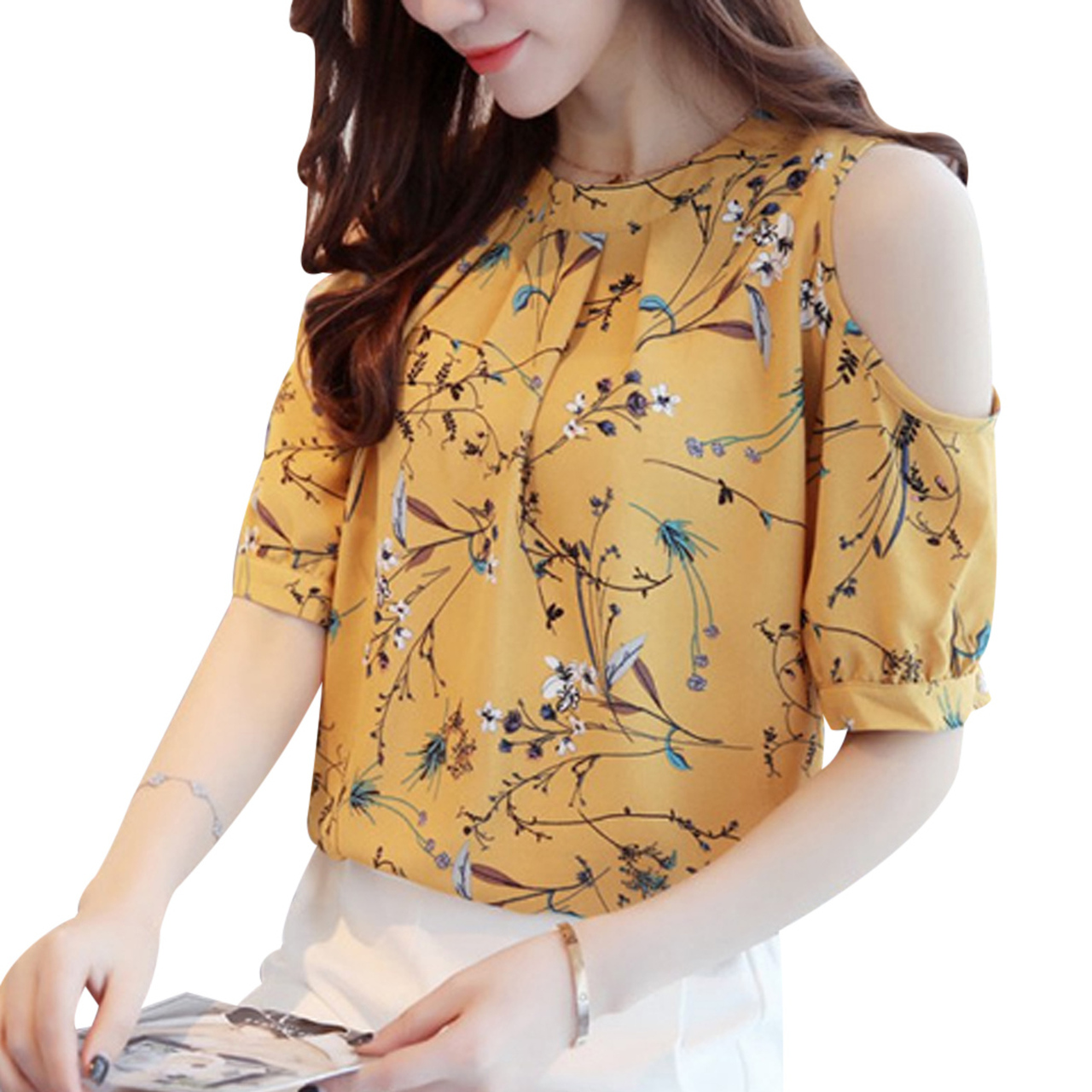 73dd5f6043780f 2018 Summer Cold Shoulder Chiffon Floral Printed Blouse Shirt Women Tops  Elegant Plus Size Ladies Korea ...