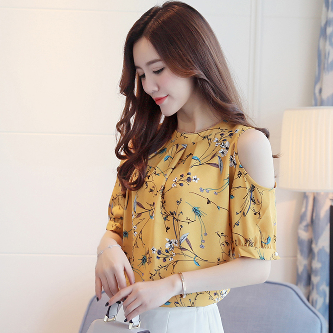 6239e4cb515eaa ... 2018 Summer Cold Shoulder Chiffon Floral Printed Blouse Shirt Women Tops  Elegant Plus Size Ladies Korea