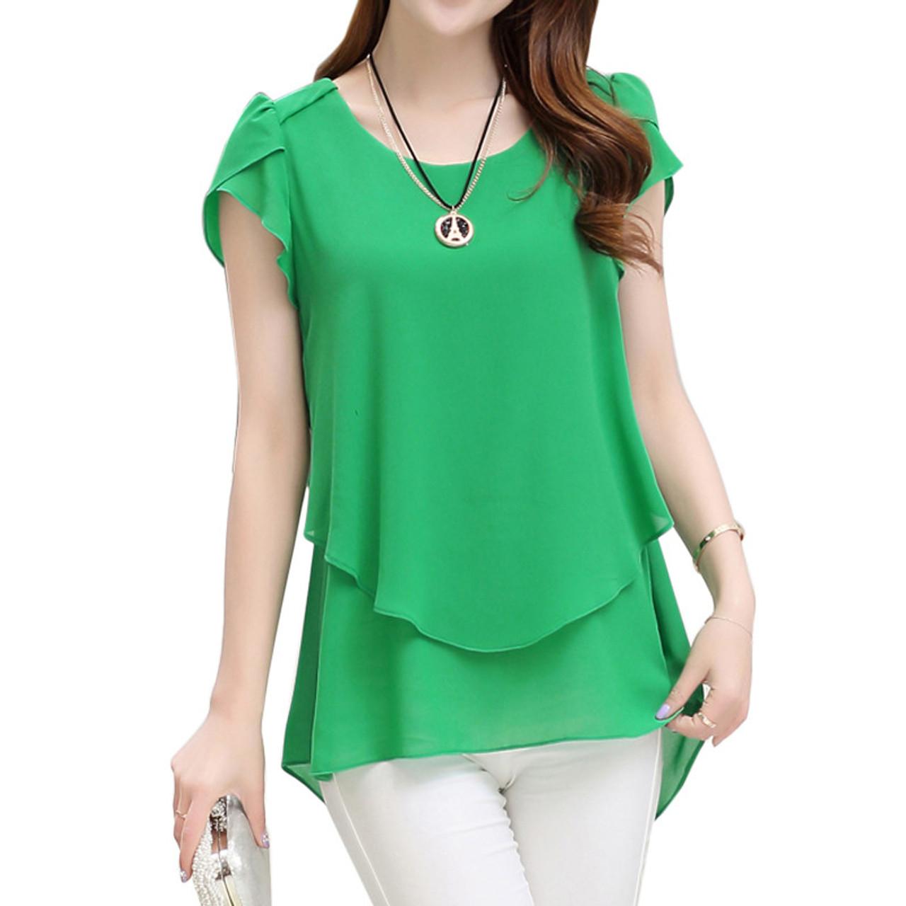 dc222c87a24 2017 Womens Short Sleeve Chiffon Blouse Peplum Summer Tops Ladies Long  Office Shirts Plus Size Ruffle ...
