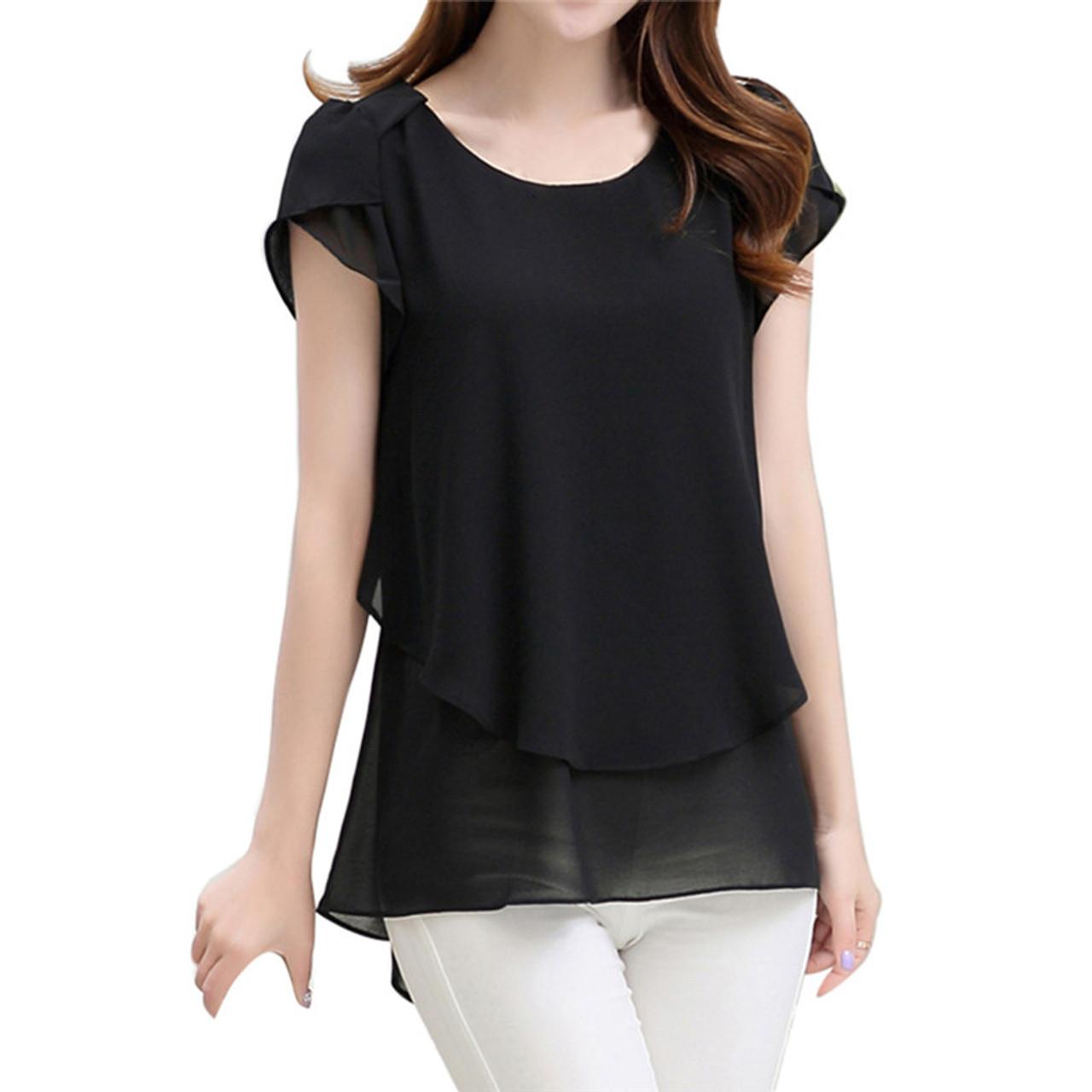 9aa387cd1b9 ... 2017 Womens Short Sleeve Chiffon Blouse Peplum Summer Tops Ladies Long  Office Shirts Plus Size Ruffle ...