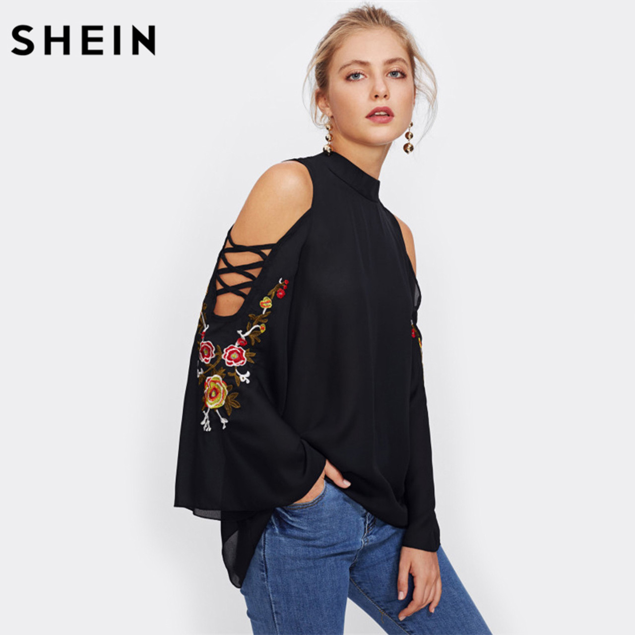 c72e647c2368c ... SHEIN Casual Women Tops Crisscross Open Shoulder Embroidery Flare  Sleeve Blouse Black Stand Collar Long Sleeve ...