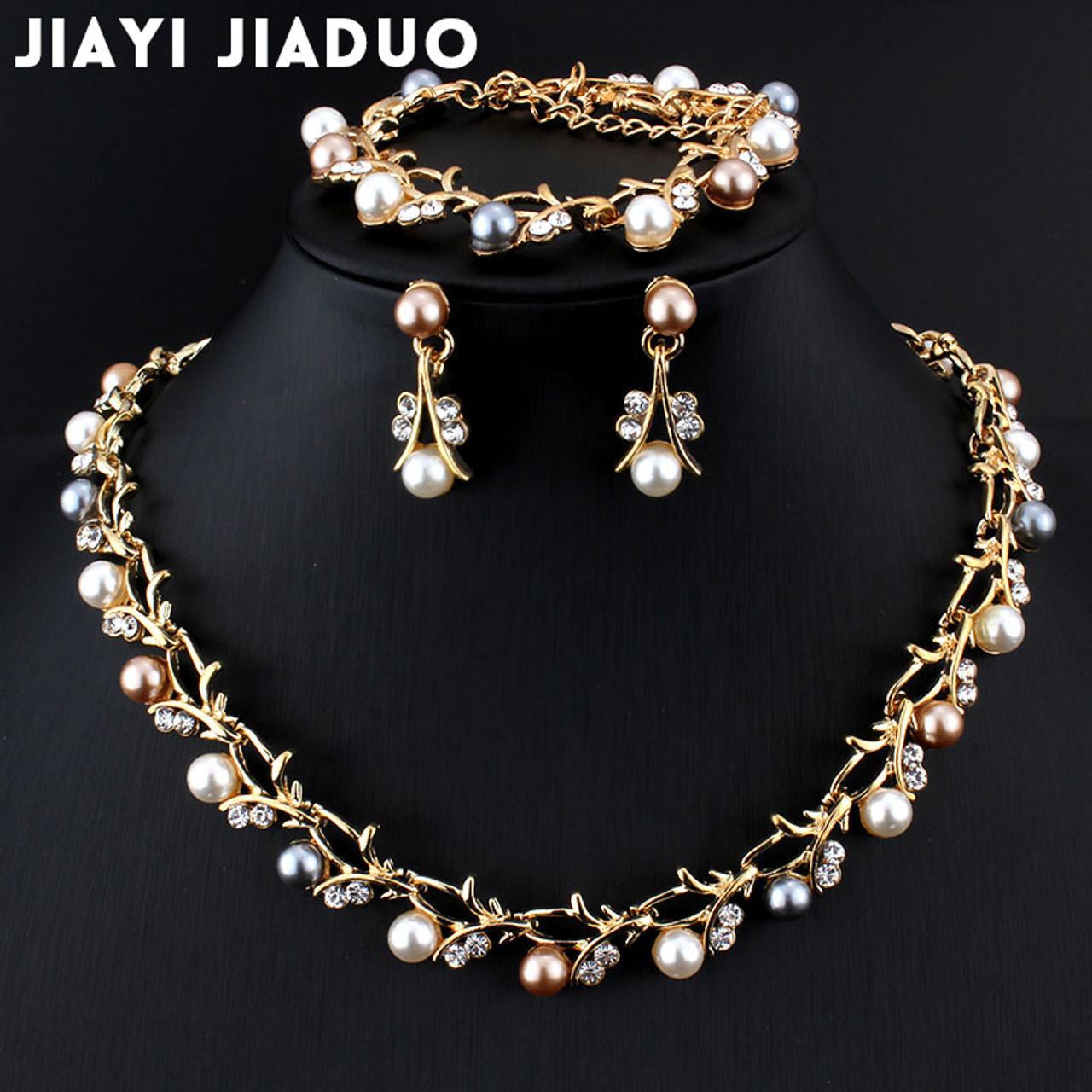 8a2940e28a9f8 jiayijiaduo Hot Imitation Pearl Wedding necklace earring set Bridal jewelry  set for women Elegant Party Gift Fashion Costume