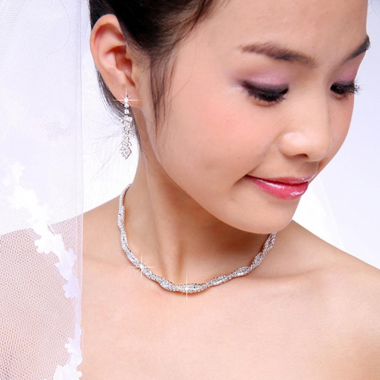 Crystal Rhinestone Pendant Choker Necklace Earrings Set Wedding Bridal Jewelry