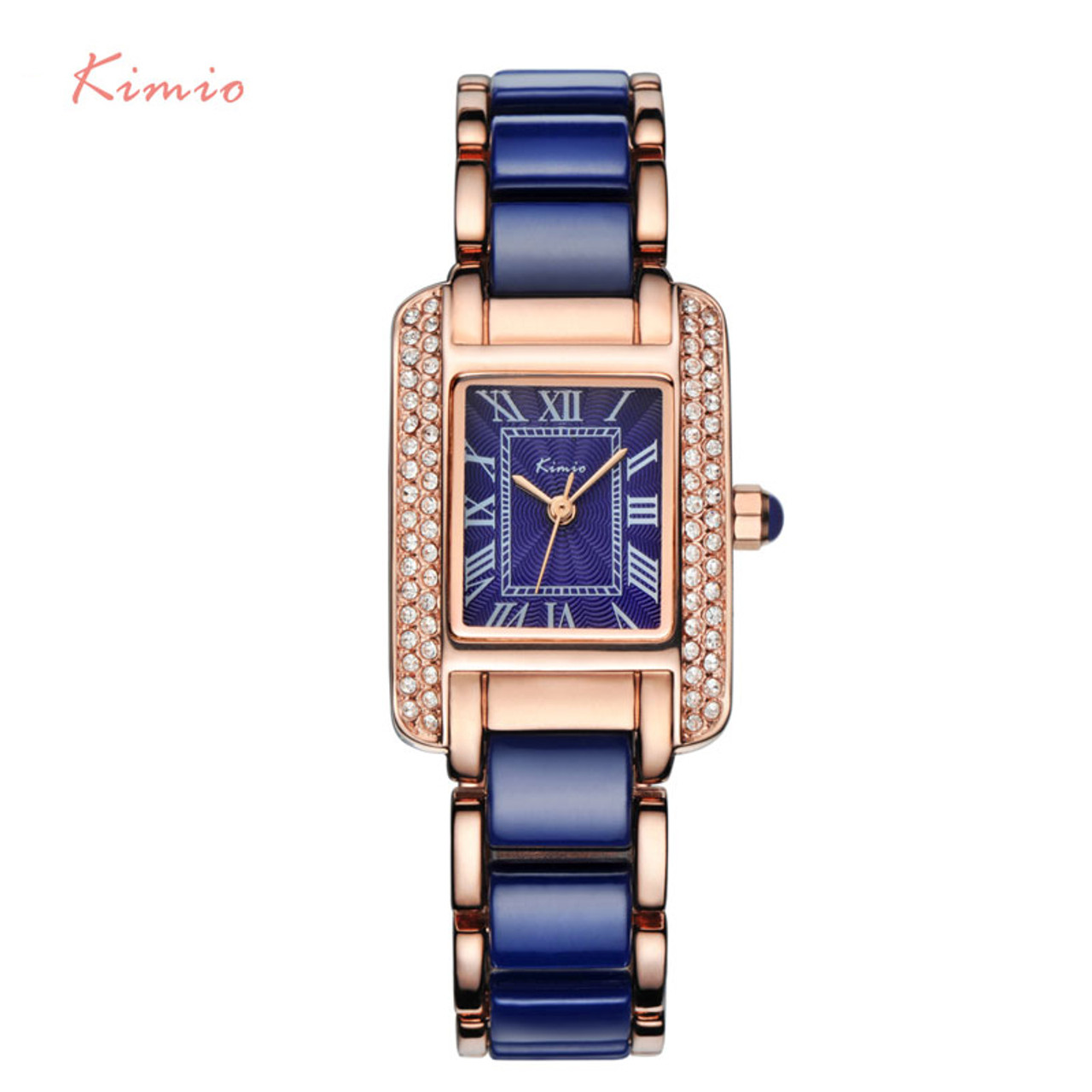 0ec9f9d3b7e0 ... Kimio Women Quartz Watch Fashion Blue Square Diamond Bracelet Watches  Brand Imitation Ceramics Student Waterproof Wristwatch ...