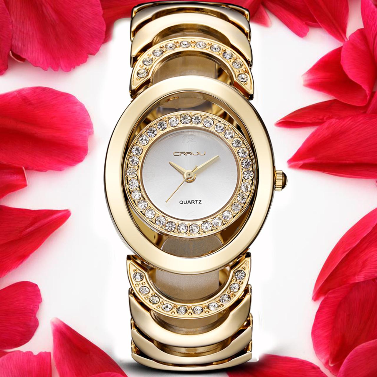 f65c48a3fb86c CRRJU Luxury Women Watch Famous Brands Gold Fashion Design Bracelet Watches  Ladies Women Wrist Watches Relogio ...