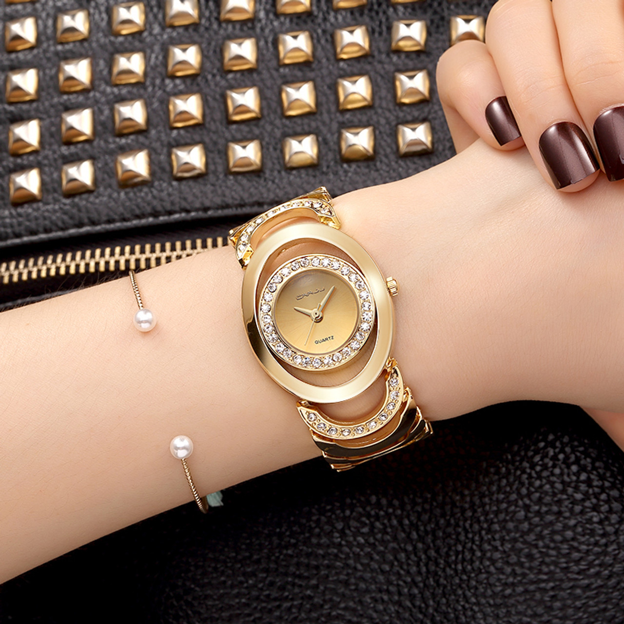 Crrju Luxury Women Watch Famous Brands Gold Fashion Design Bracelet Watches Ladies Women Wrist Watches Relogio Femininos Onshopdeals Com