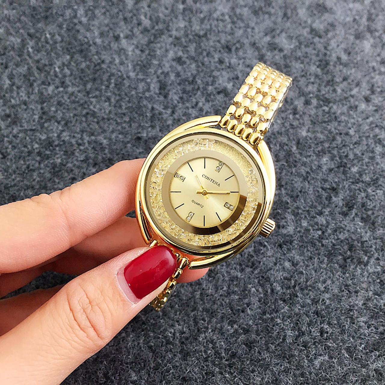 fdec38d7e6 Top Brand CONTENA Watch Women Watches Rose Gold Bracelet Watch Luxury  Rhinestone Ladies Watch saat montre femme relogio feminino