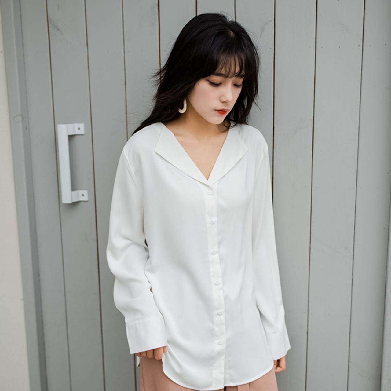 18d63ca4ac0 ... 2018 Vintage Women silk satin blouse button Lapel long sleeve shirts  ladies office work elegant female ...