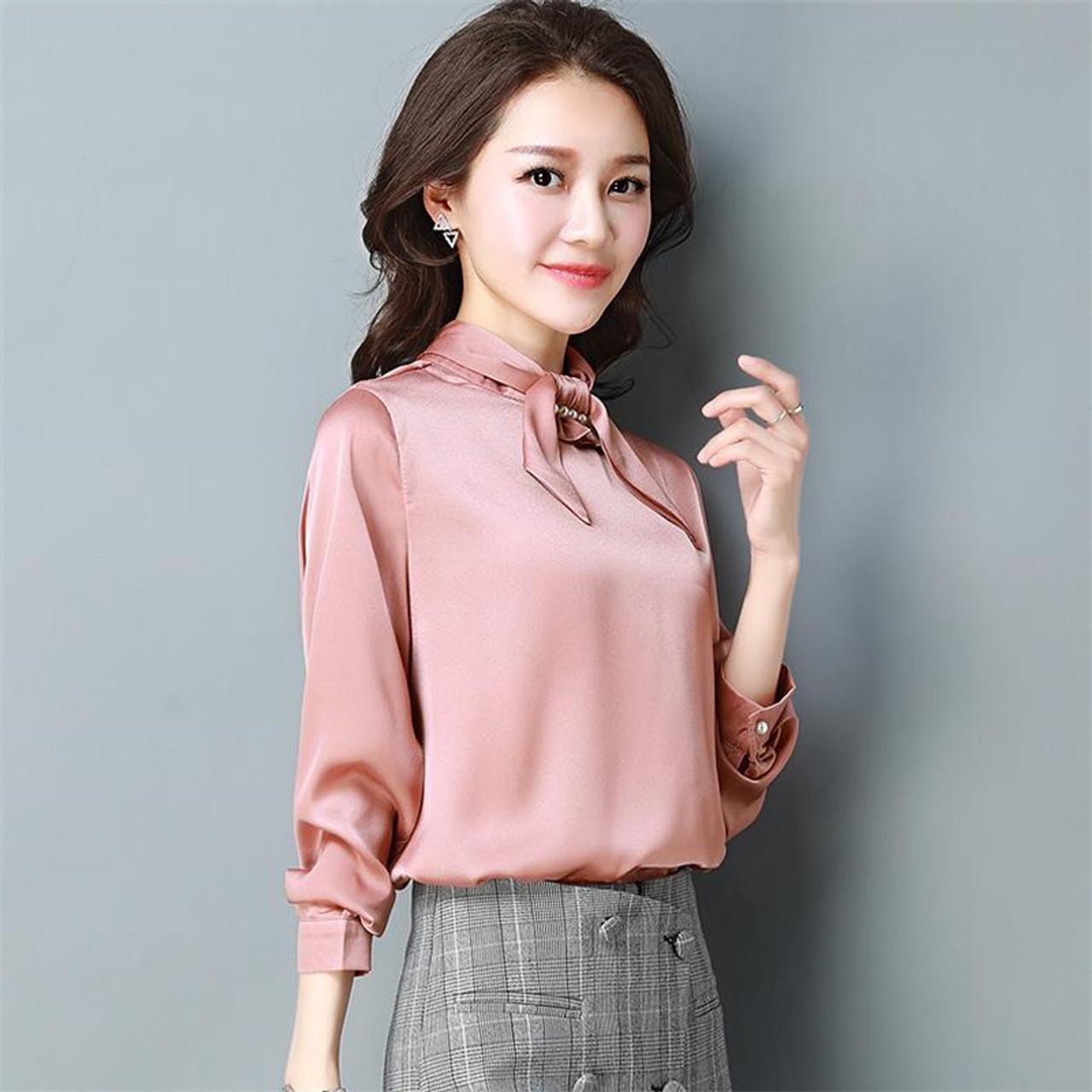 044c3d74cfc874 ... High Quality Tops 2018 New Women Silk Satin Blouses Female Long Sleeve  Shirts Office Lady Elegant ...